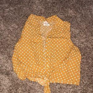 Mustard polka dot crop top